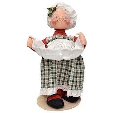"""Circa 1995 Annalee Mrs Claus Christmas Doll 14"""" Tall Soft Sculpture"""