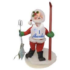 """Circa 1995 Annalee Skiing Santa Claus Christmas Doll 7"""" Tall Soft Sculpture"""