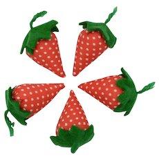 Handmade Felt & Fabric Red & White Polka Dot Strawberry Pin Cushion