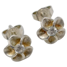 Petite Sterling Silver Cubic Zirconia Flower Stud Earrings