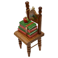"""Handcrafted """"To My Teacher"""" Handpainted Wood Chair w/ Books & Red Apple Christmas Ornament"""