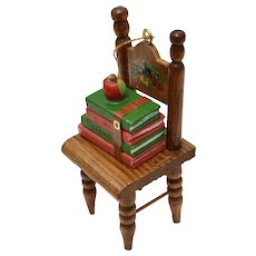 "Handcrafted ""To My Teacher"" Handpainted Wood Chair w/ Books & Red Apple Christmas Ornament"