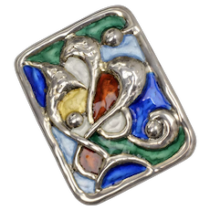 Signed Oystein Balle, Norway, Sterling Silver Mid-Century Enamel Brooch/Pin
