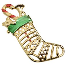 "Signed Jonette Jewelry ""JJ"" Large Red Rhinestone & Green Enamel Openwork Christmas Stocking w/ Toys Brooch/Pin"