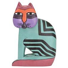 Colorful Laurel Burch Feline Cat Carved Wood Purple Painted Figurine Sculpture
