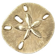 Textured Brushed Goldtone Sand Dollar Brooch/Pin