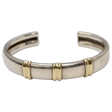 Stamped 14K Gold & Sterling Silver Modernist Style Cuff Bracelet
