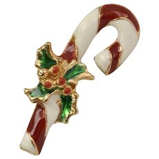 Red & White Enamel Candy Cane w/ Holly Christmas Tie Tack Pin