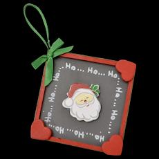 "Large Handcrafted Festive Red & Green Santa Clause ""Ho Ho Ho"" Christmas Ornament"
