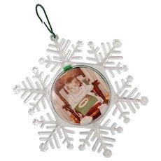 "Large ""Seasons Greetings"" Removable Photo Christmas Snowflake Ornament"