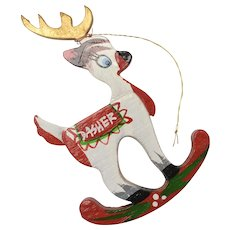 "Circa 1970s Kurt Adler Handcrafted ""DASHER"" Christmas Reindeer Wood Ornament"