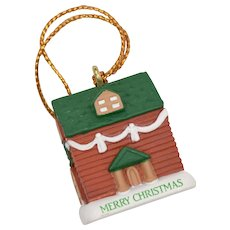 """""""Merry Christmas"""" Red & Green House in Snow Ornament"""