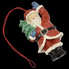 Circa 1960s Waving Santa Claus w/ Christmas Tree Ornament
