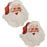 "Set of 2 ""Winking Santa"" Colorful Paper Die-Cut Gift Labels"