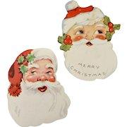 Set of 2 Christmas Santa Colorful Paper Die-Cut Gift Labels
