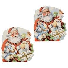 "Set of 2 ""Do Not Open Until Dec 25th"" Colorful Paper Santa Die-Cut Gift Labels"