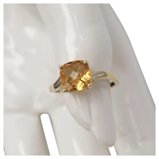 Signed AFJC 10K Gold Cushion Checkerboard Cut Citrine w/ Diamond Accent Ring