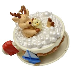 Circa 1997 Westmar Signed Reindeer & Chick in Teacup Bubble Bath Christmas Ornament