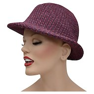 Wine Purple & Pink Woven Crochet Style Ladies Fedora Hat