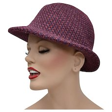 Wine Purple & Pink Woven Crochet Style Ladies Fedora Hat
