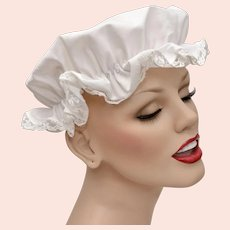 Children's White Lace Cotton Fabric Night Cap