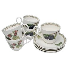 Noritake Royal Orchard Strawberry & Plum Fruit Motif Set of 4 Tea Cups & Saucers