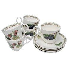 Noritake Royal Orchard Strawberry & Plum Fruit Motif Set of 4 Tea Cups & Saucers