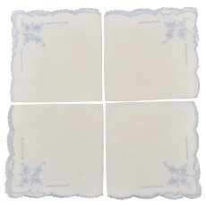 Set of 4 White Linen Fabric, Lace & Blue Flower Embroidered Dinner Napkins