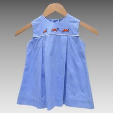 Lord & Taylor Tagged 'Grace' Blue & White Checkered Embroidered Lady Bug Toddler Girl's Dress