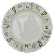 Set of 6 Taylor-Smith & Taylor 'Cathay' Mid-Century Modern Atomic Pattern Ceramic Bread & Butter Plates