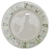 Taylor-Smith & Taylor 'Cathay' Mid-Century Modern Atomic Pattern Ceramic Dinner Plates ~ Set of 4 ~ Two Sets Available