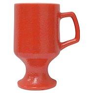 Red Textured Milk Glass Pedestal Mug