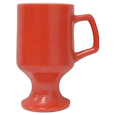 Red Textured Milk Glass Pedestal Mug