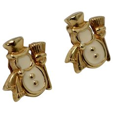 Avon Signed White Enamel Snowman Goldtone Stud Earrings
