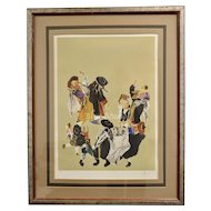 Signed Artist Proof Jewish Dancing Watercolor Painting in Original Frame