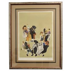 c1979 Signed Judith Yellin Artist Proof Jewish Dance Art Lithograph in Frame