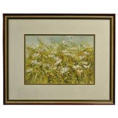 "Signed Lynda Tate Original ""Field of Daisies"" Watercolor Painting in Original Frame"