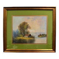 """Signed Original 30"""" Pastel Painting of Secluded House on Water in Original Wood Frame"""
