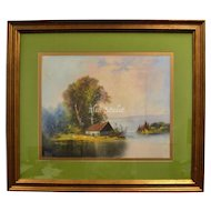 "Signed Original 30"" Pastel Painting of Secluded House on Water in Original Wood Frame"