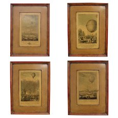 Set of 4 Vintage Hot Air Balloons in Paris Unusual Framed Art Prints