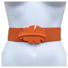 Funky Huge Orange Palm Leaf Buckle Stretch Belt