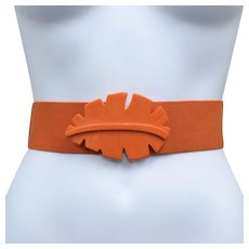Funky Huge Orange Palm Leaf Buckle Stretch Belt