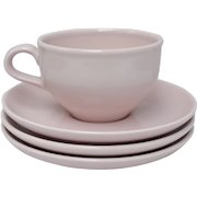 Russel Wright Iroquois Casual Pink Ceramic Cup & 3 Saucers