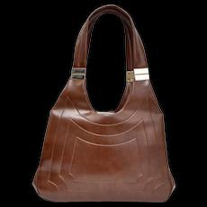 Chocolate Brown Vinyl Handbag w/ Goldtone Hardware Accents