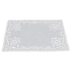 Circa 1920 White Linen Cutwork Set of 7 Hand Embroidery Filet Lace Placemats