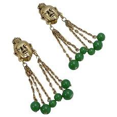 Signed Tortolani Large Buddha Face w/ Green Glass Ball Dangle Clip Earrings