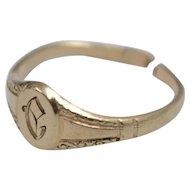 "14k Gold Victorian Antique Engraved Initial ""C"" Monogram Child's Ring"