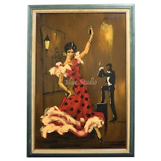 "Signed Monte Huge 40"" Flamenco Dancer Oil on Board Painting in Original Wood Frame"