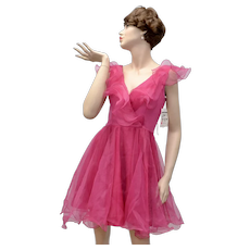 Faviana New York Frilly Pink Organza Cocktail Dress