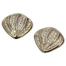 Large Fan-Shaped Rhinestone Goldtone Clip Earrings
